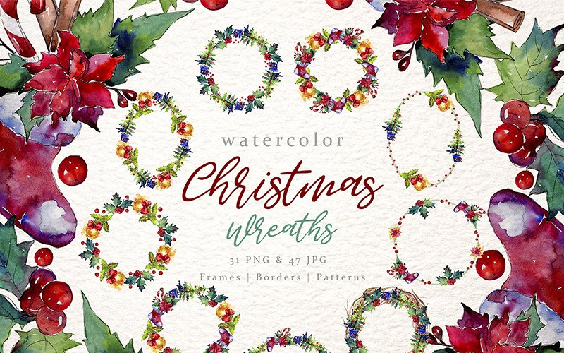 Christmas Collection PNG Watercolor Set Illustration