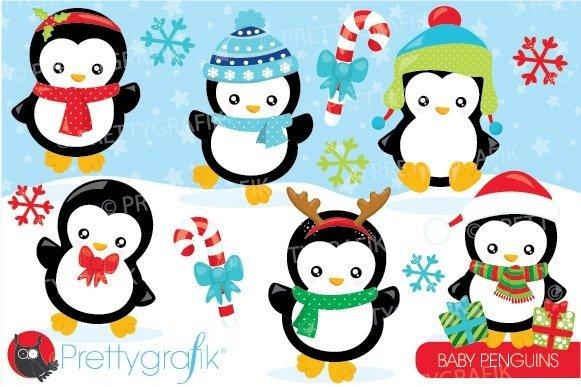 Christmas Penguin Clipart Vector