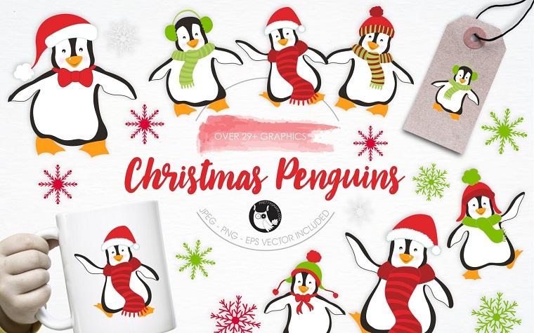 Christmas Penguins Illustration Pack