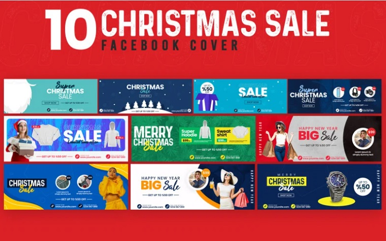 Christmas Sale 10 Facebook Cover Social Media