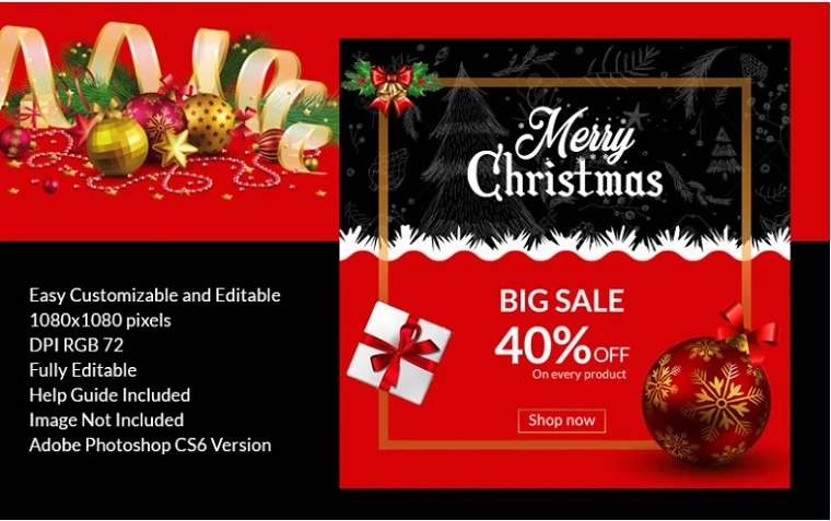 Christmas sale banner PSD Template