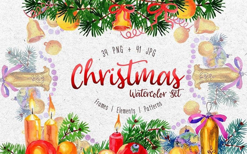 Christmas Watercolor PNG Set Illustration