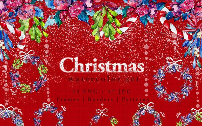 Christmas Winter Holiday PNG Watercolor Set Illustration