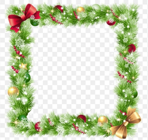 Coniferous Frame With Lights Clipart.