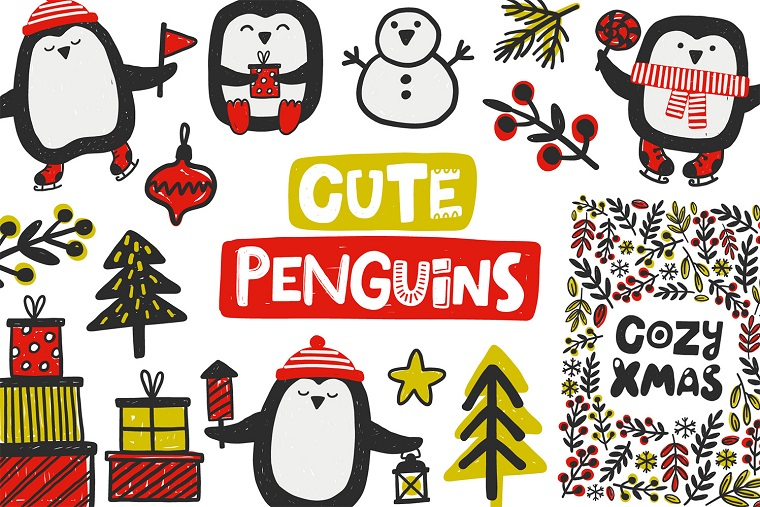 Cute Penguins. Christmas Collection
