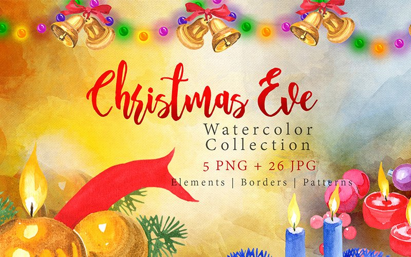 Collection of Festive Candles PNG Watercolor Set Illustration