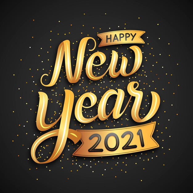 Lettering happy new year 2021.