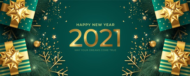 Realistic happy new year banner with green and golden gifts.