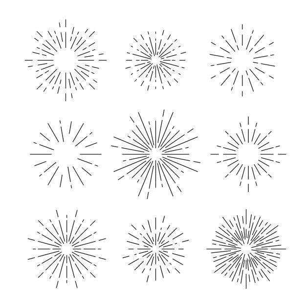 Sunburst vector set on white.