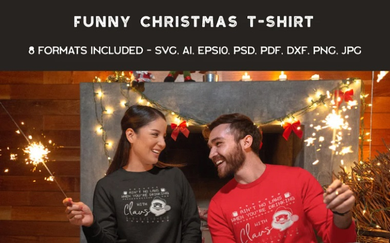 Funny Ugly Sweater Party. Santa T-shirt.