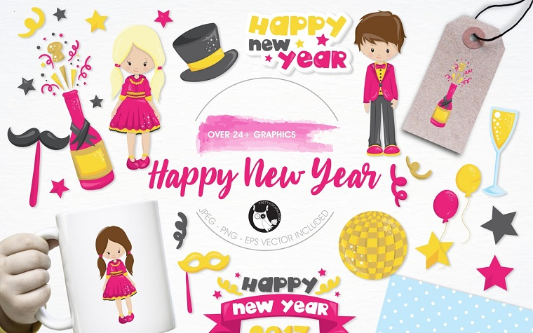 Happy New Year illustration pack Vector