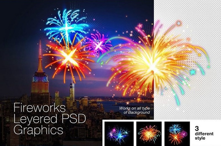 Layered PSD Fireworks Graphics Illustration