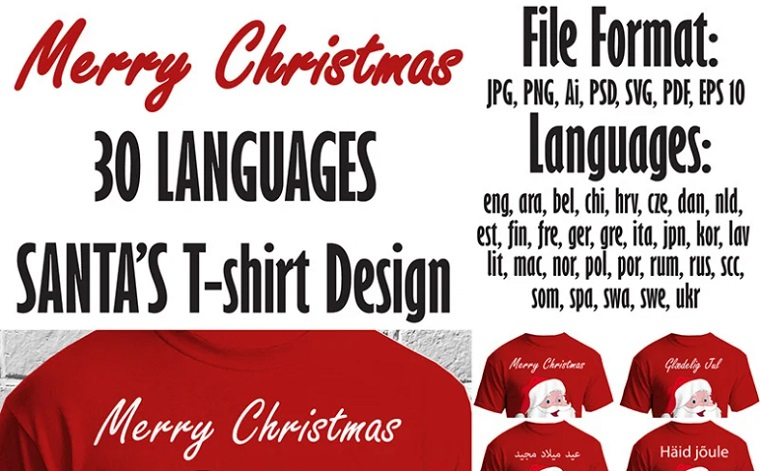 Merry Christmas 30 Languages SANTA'S Design T-shirt.