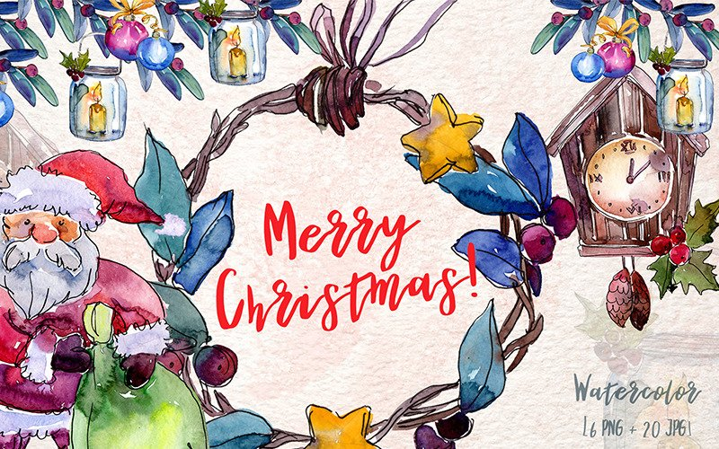 Merry Christmas Holiday PNG Watercolor Set Illustration