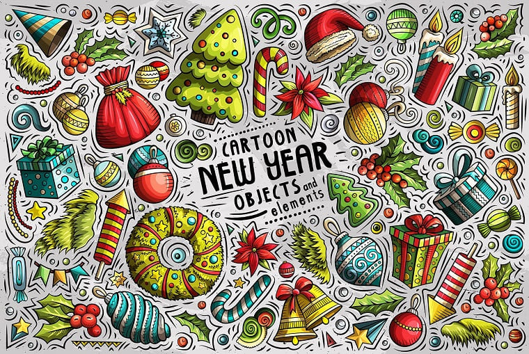 New Year Cartoon Objects Set Vector