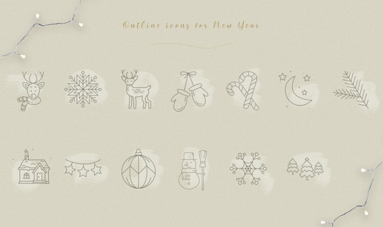 New Year mood Iconset Template