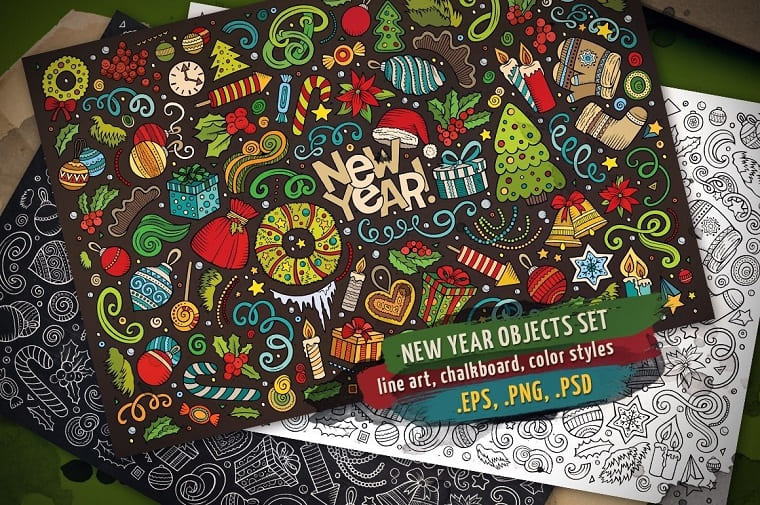 New Year Objects & Elements Set Vector
