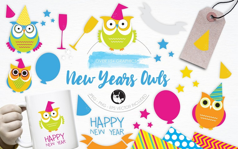 New Year Owls illustration pack Vector
