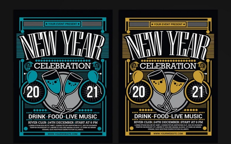 New Year Party Celebration 2021 Corporate Identity Template