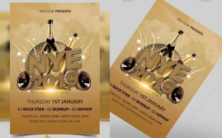 New Year Party Celebrations Flyer Template Corporate Identity Template