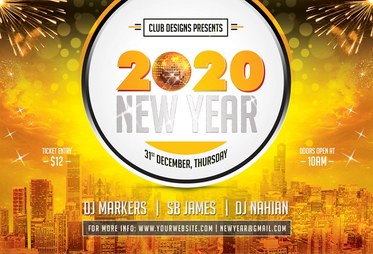 New Year Party Flyer and Poster 2020 PSD Template