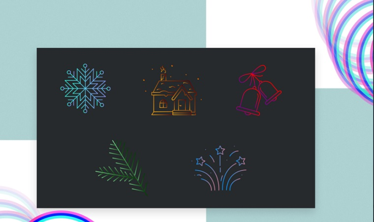 New Year's paints Iconset Template