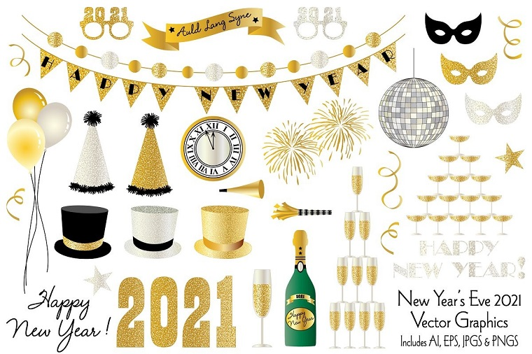 New Year's Eve 2021 Vector Clipart Graphics Illustration