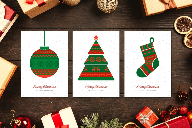 Norwegian Christmas Greeting Cards Set Illustration