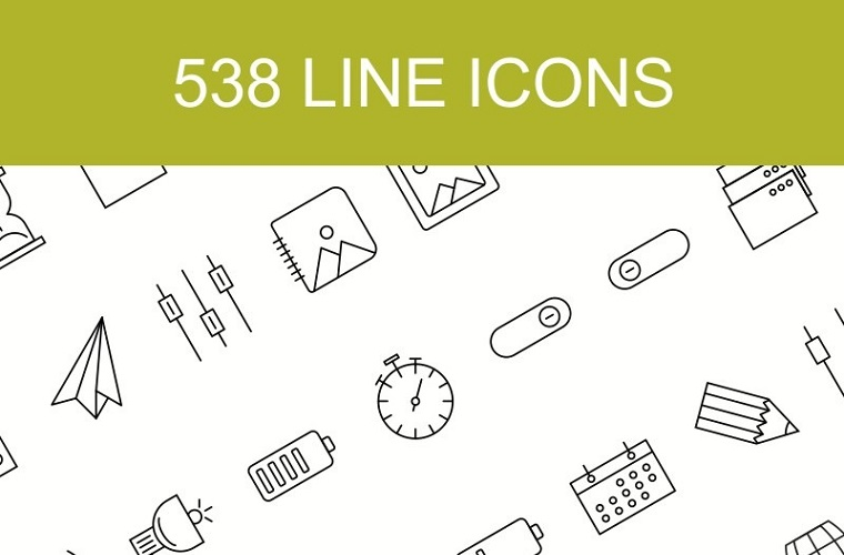 538 Line with 15 Multiple Categories Iconset Template