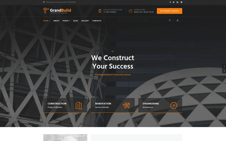 GrandBuild - Construction Company Flat Professional Joomla Template