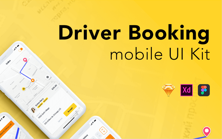 Taxi Driver Booking UI Kit UI Elements