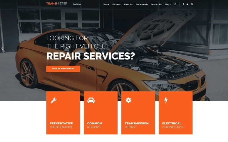 Transmitter - Car Repair WordPress Theme