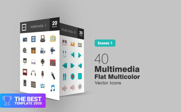 40 Multimedia Flat Multicolor Iconset Template.