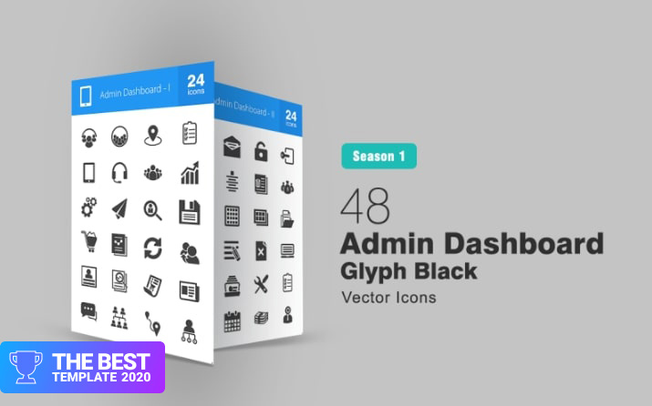 48 Admin Dashboard Glyph Iconset Template.