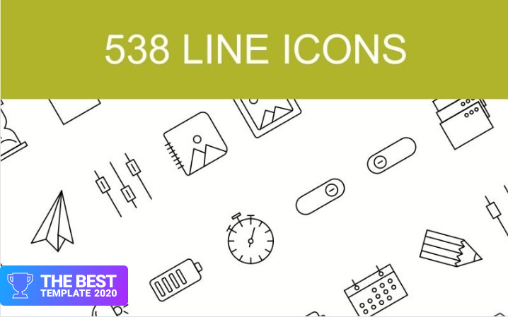 538 Line with 15 Multiple Categories Iconset Template.