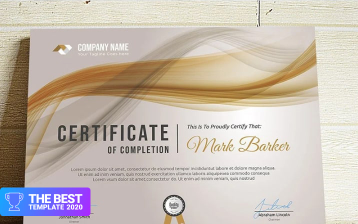 Abstract Certificate Template  - digital products award