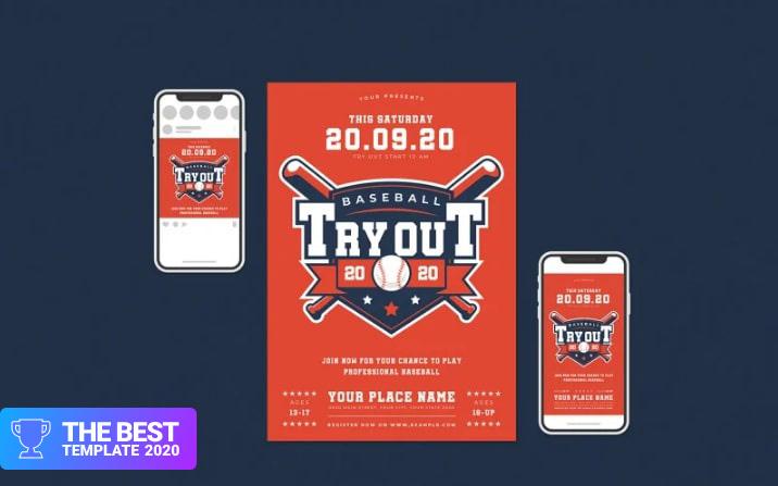 Baseball Tryout Flyer Set Corporate Identity Template.