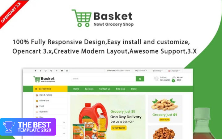 Basket Grocery OpenCart Template.