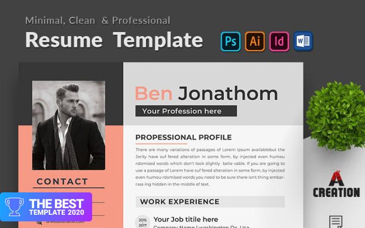 Ben Jonathon Editable Resume Template.