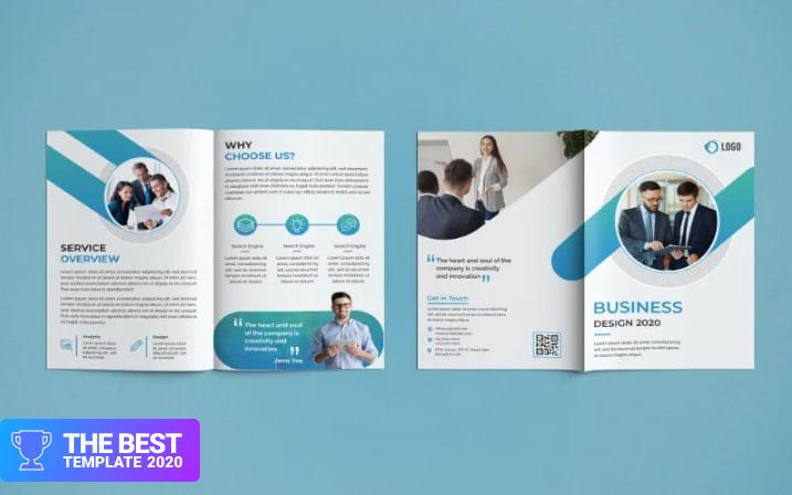 Bifold Brochure Design Corporate Identity Template.