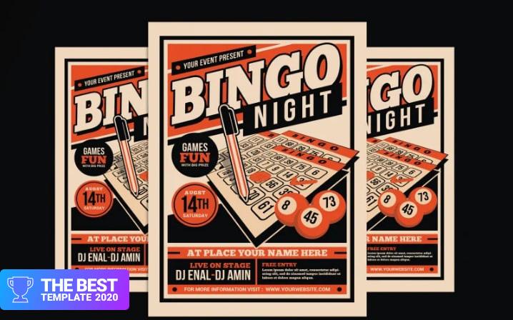 Bingo Night Event Flyer Corporate Identity Template.
