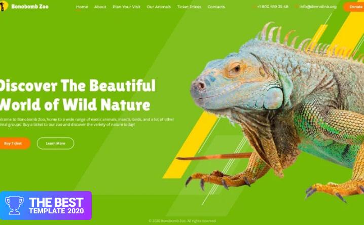 Bonobomb - Full Animated Zoo Website Template.