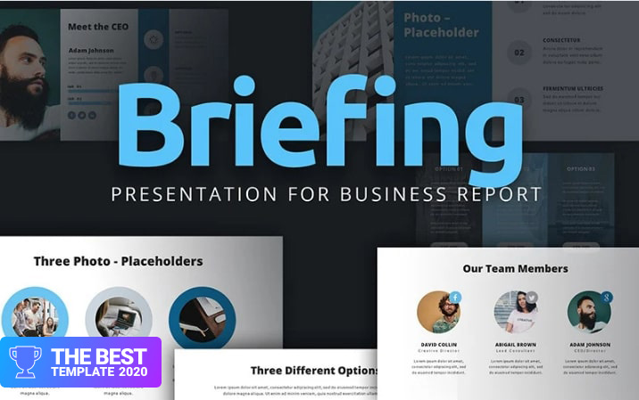 Briefing Presentation For Business Report PowerPoint Template.