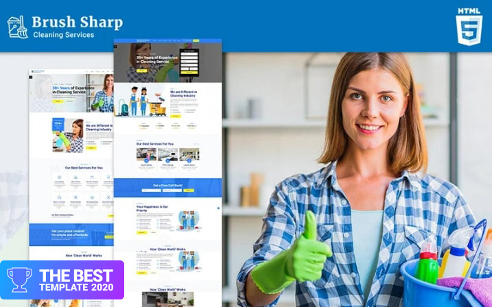 Brush Sharp   Multipurpose Responsive Cleaning Services Website Template.