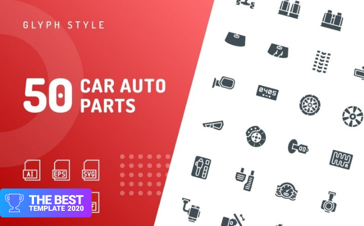 Car Auto Parts Glyph Iconset Template.