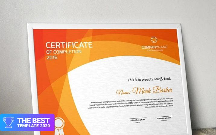 Curvy Modern Certificate Template  - digital products award