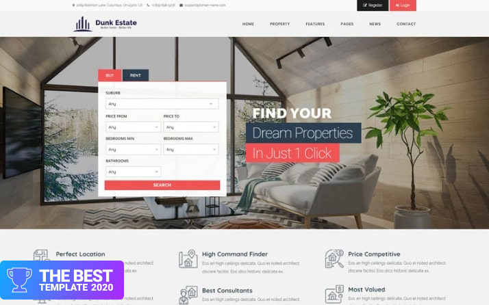 Dunk Dynamic Real Estate WordPress Theme best digital products