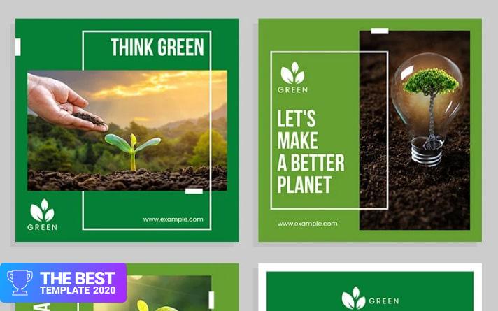 Environment Set with Green Accents Social Media - digital products award