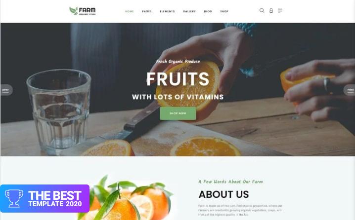 Farm - Food & Drinks Multipage Clean Joomla Theme Joomla Template - digital products award