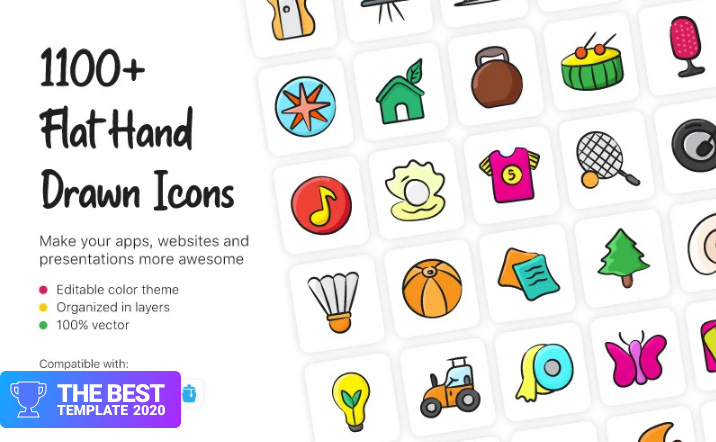 Flat Hand Drawn Iconset Template.